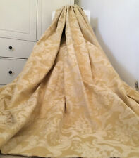 "HUGE HEAVY JACQUARD MTM CURTAINS GOLD & CREAM WHITE FILIGREE 200"" X 83.8"""