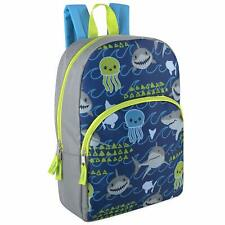 "Boys 15"" Backpack Bookbag Adjustable Straps Blue & Gray Shark Print"