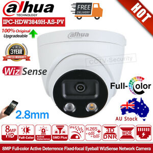 Dahua 4K 8MP Full-color AI IP Camera IPC-HDW3849H-AS-PV Mic Speaker SMD Security