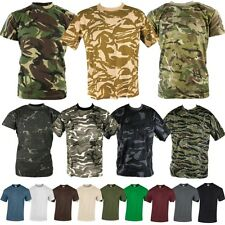 MENS ARMY T-SHIRT S-3XL 100% COTTON PLAIN CAMOUFLAGE MTP DPM DESERT URBAN CAMO