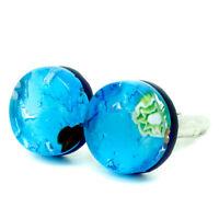Murano Glass Cufflinks Light Blue Green Millefiori Circular Handmade from Venice