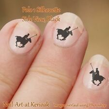Polo Pony and Rider Nail Art, Polo 1, Stickers Decals, black silhouette horse