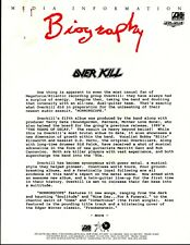 Vintage Original 1991 Overkill Promo Sheet 2 Pgs 1is Doublesided Paper Clip Rust