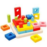 MWZ Juguetes de clasificacion apilables geometricos de madera para la Educa K9U1
