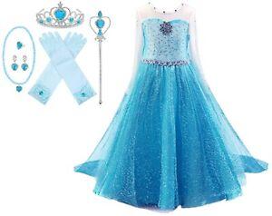 Snow Queen Long Sleeve Princess Elsa Frozen Costume Halloween Party Girls Dress