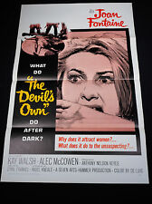 THE DEVIL'S OWN 1967 * JOAN FONTAINE * HORROR 1 SHEET * TRI-FOLDED N.MINT UNUSED