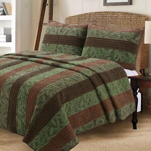 Bold Striped Brown Green Reversible Quilt Set, Bedspread, Coverlet