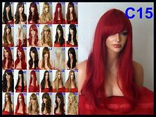 Red Wavy Fashion Long Curly Party Cosplay Halloween Full Womens Ladies Wig D15