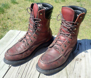 RED WING 402 Supersole Leather 8-Inch Soft Toe Work Boots USA Made Men size 8 B