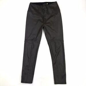 Lysse Anthropologie Women's Dark Brown Faux Leather High Waist Leggings M Petite