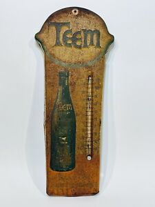 VINTAGE ADVERTISING TEEM SODA TIN THERMOMETER STORE DISPLAY COLA 7UP PLEASE READ
