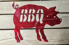 Metal BBQ Pig Grilling Man Cave Sign Pit Master Dad Gift Smoked BBQ