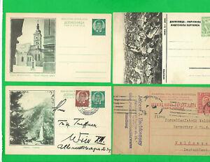 YUGOSLAVIA-4 Post Cards-2 are unused 1938 to Austria,very nice & 1927 to Germany