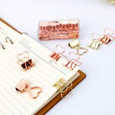 10pcs Gold Rose Gold Color Binder Clip Hollow Out Heart Shape Metal Binder Clips