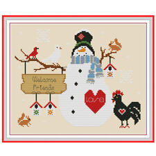 Christmas Snowman Needlework Counted 14CT Printed Cross Stitch Embroidery Kit