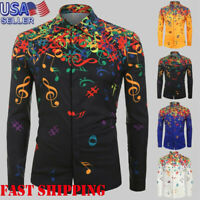 Fashion Men's Novelty Musical Note Pattern Print Long Sleeve Shirt Top Blouse