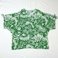 Morrison Top Floral Cold Shoulder Size 1-2 Green White Relaxed Fit