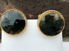 Simmons 1/20TH 12K Gold Filled MOSS GREEN AGATE Round Stone Men's CUFF LINKS