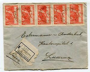 Argentina registered, multifrkd. cover to Lucerna Switzerland 12-12-1932