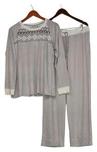Cuddl Duds Women's Petite PL Pajama Set Apres Ski Gray A368477