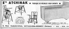 LEVALLOIS-PERRET PUBLICITE ETS ATCHINAK FABRIQUE DE MEUBLES POUR ENFANTS 1950