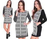 Pullover Tunika Rundhals mit Taschen in 3 Farben Gr. S M, 0202