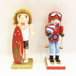 Surfer Ornament Gifts Christmas Wooden Nutcracker Skiing Walnut Soldiers Decor