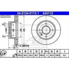 ATE 2x Bremsscheiben belüftet beschichtet 24.0124-0112.1
