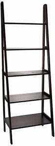 5-Shelf Ladder Bookcase-Espresso