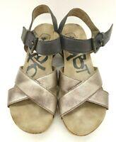 OTBT Bronze Black Leather Wedge Buckle Slide Casual Sandals Women's 6 M