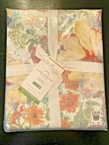Pottery Barn Rosemary Floral Print Organic Duvet Cover - Full/Queen - Multi
