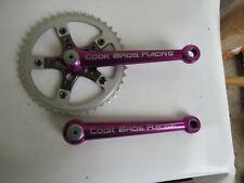 COOK BROS.BROTHERS 175MM BICYCLE BIKE BMX TRACK PURPLE CRANK ARMS 42 SPROCKET