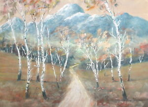 Antique Impressionist  gouche painting landscape country road