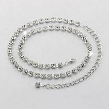 8mm diamant strass Femmes Chaîne de Taille / ceinture breloque argent