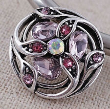 Silver Pink Opal Rhinestone Flower 20mm Snap For Ginger Snaps Magnolia Vine