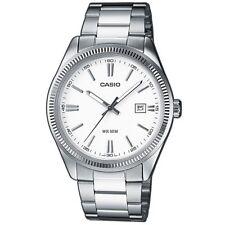Casio Uhr MTP-1302D-7A1VDF Herren Edelstahl Silber Weiß Datum Watch NEU & OVP