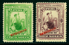 "PERU 1899 POSTAGE DUE - LIBERTY set w/ABNC ""SPECIMEN"" Sc# J34-35 mint MNH - RARE"