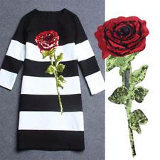 Rose Sequins Flower Sequin Back Glue Iron on Dress Applique Patch S
