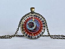 ASTRONOMICAL STEAMPUNK CLOCK Pendant Burgundy Blue Gold Zodiac Necklace jewelry