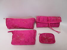 Set of 4 - Pink Beaded Cosmetic Makeup Jewellery Roll Pouch Purse Bag Gift #2F2