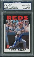 1986 Topps Pete Rose #1 Signed Autograph PSA/DNA