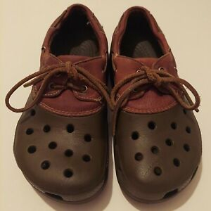 Crocs Unisex Shoes Dark Brown  with Leather Tops Laces M 7 and W 9