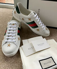 Gucci Ace Mens Embroidered Low Top Sneaker Shoes Uk 10 Eu 44 White Leather 🇮🇹