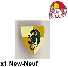 Lego - 1x Minifig shield bouclier dragon gris/light bluish gray 3846pb28 NEUF