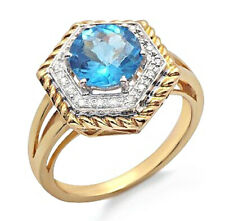 14K Gold Ring with Diamond & Blue Topaz Size 7