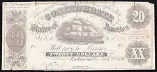 US CSA 1861 $20 Confederate Currency T-9 (PF-4) F-VF