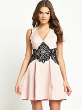 Lipsy Lace Applique Waist Skater Prom Party Dress  UK12/EU40/US8  zz6