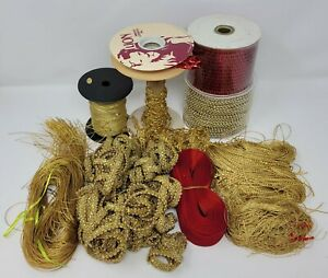 Huge Lot Christmas Craft Supplies Ribbons, Trims, Cords, Thread, Beaded Garland