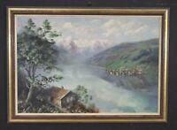 Quadro antico olio su tela Paesaggi firmato SCHENKL veduta del lago di montagna