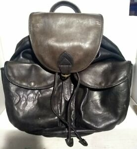 Vintage Wilson's Leather Black w Brown Leather Backpack Bag Plain Cotton Lined